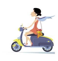 Pretty young woman rides a bike isolated vector