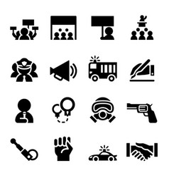 protest icon set vector image