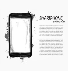 Realistic watercolor painting of smartphone vector