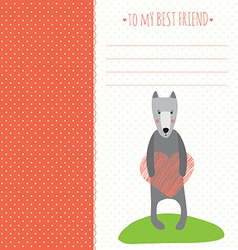 romantic greeting card with cute dog and vector image