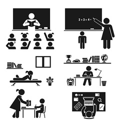 School days Pictogram icon set School children vector image
