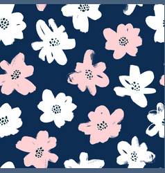 seamless floral pattern with chamomile vector image