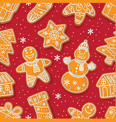 Seamless pattern of christmas gingerbread cookies vector