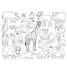 Set doodle animals outline cartoon vector