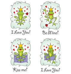 Set greeting valentine card vector