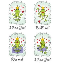 set greeting valentine card vector image