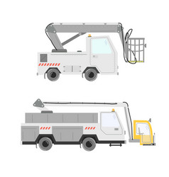 Set of aircraft deicer trucks vector