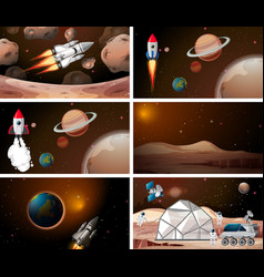 Sets rockets and space scene vector