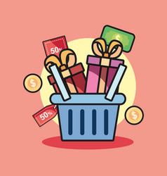shopping basket design vector image