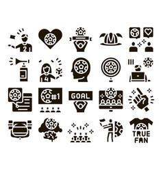 Soccer fan attributes glyph set vector