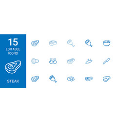 Steak icons vector