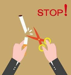 Stop smoking human hands cutting the cigarette vector