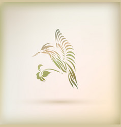 stylish greeting card with bird vector image