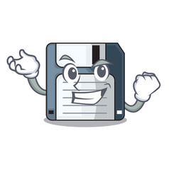 Successful floppy disk isolated with a mascot vector
