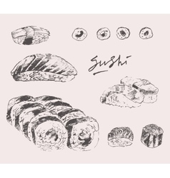 Sushi Set Hand drawn Engraving Vintage vector image