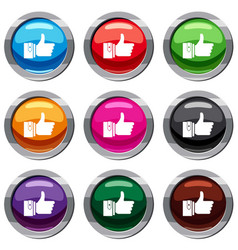 thumbs up set 9 collection vector image