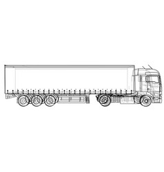 Truck abstract drawing wire-frame eps10 vector
