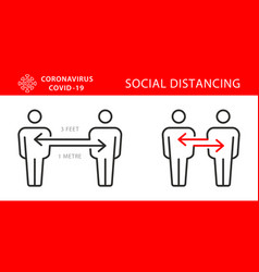 Two persons social distancing icon vector