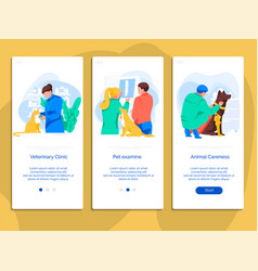 Veterinary clinic mobile app onboarding screen set vector