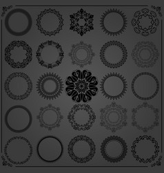 vintage set of round black elements vector image