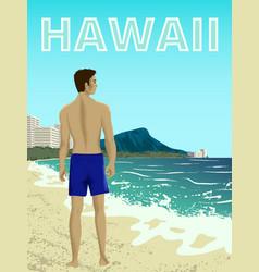 waikiki beach oahu island vector image