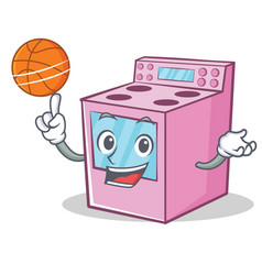 With basketball gas stove character cartoon vector