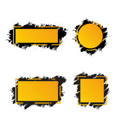 yellow frames with black brush strokes for text vector image