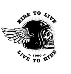 biker skull in helmet with wing on white vector image