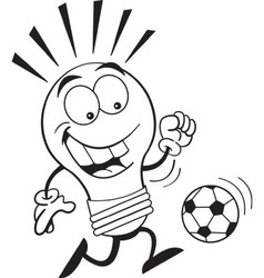 Cartoon light bulb playing soccer vector image vector image
