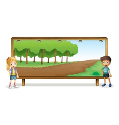 kids and board vector image vector image