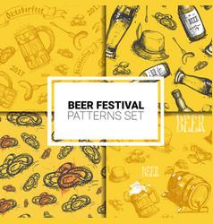 oktoberfest seamless pattern set german beer vector image