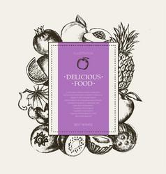 square fruit frame - hand drawn design vector image