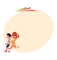 two friends boy and girl running together with vector image