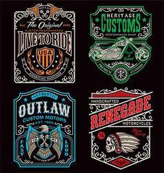 Vintage motorcycle t-shirt graphic set vector image vector image
