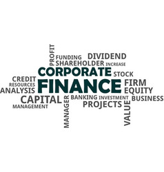 word cloud - corporate finance vector image vector image