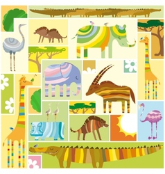 African Animals Tetris Collage vector image vector image