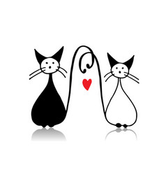 couple of cat sketch for your design vector image vector image