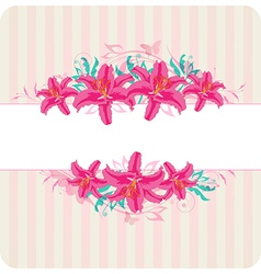 Decorative striped background with red flowers vector image vector image