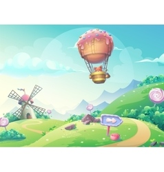 landscape with fox in blimp vector image vector image