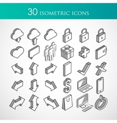 set of 30 isometric icons vector image vector image