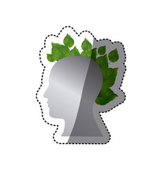 Silver contour human with leaves icon vector