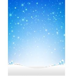Star night and snow fall bakcground vector image