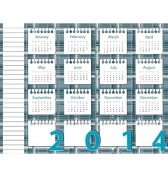2014 year calendar on the background pattern in vector image vector image