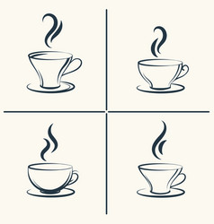coffee cups with smoke icon set vector image vector image