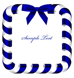 frame with blue ribbon vector image vector image