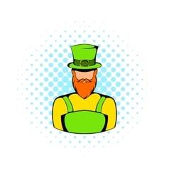 Irish leprechaun icon comics style vector image vector image