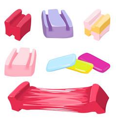 set of colorful bubble gum candies vector image