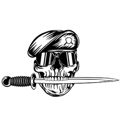 Skull in beret with dagger vector image vector image