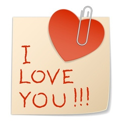 sticker heart and paper clip vector image