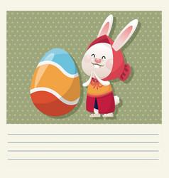 cartoon happy easter cute girl bunny egg vector image vector image